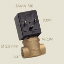 """ELECTROVANNE 220V 1/4"""" SAMA  femelle/femelle 130/N diam : 2.8mm"""